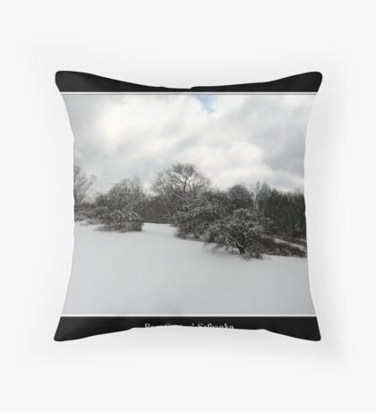 Snow covered trees on a knoll Throw Pillow