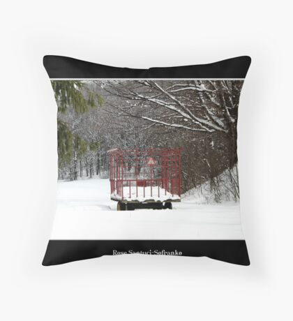 Hay Wagon in the snow Throw Pillow