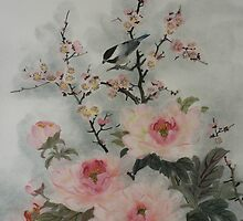 Peony and Chickadee by Nga Bui Katz