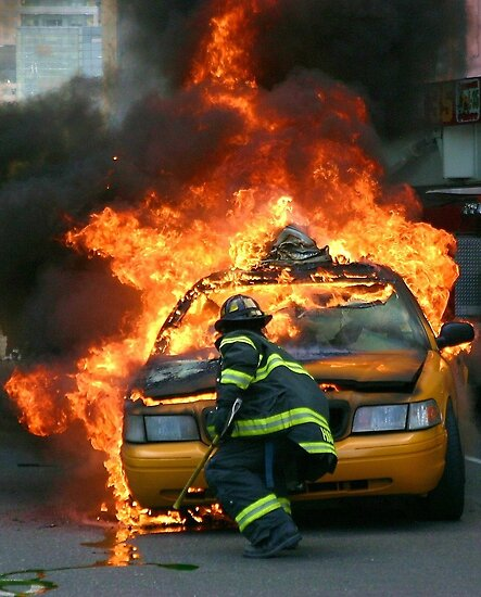 New york fireman fights taxi cab fire by Danny  Daly