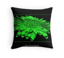 Gerbera Daisy ( Chrome - Toxic Effect ) Throw Pillow