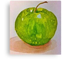 Large green apple Canvas Print