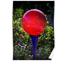 Red Bubble on a Blue Glass Pedestal Poster