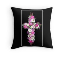 Floral Cross Throw Pillow