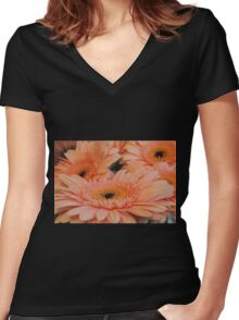 Apricot Gerberas #1 Women's Fitted V-Neck T-Shirt