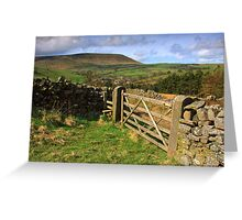 Five bar gate and Pendle hill Greeting Card