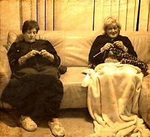 Two ladies knitting by Darren Stein