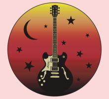 Old Guitar,moon,stars One Piece - Short Sleeve
