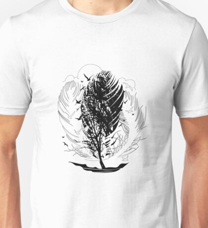 Stormy inked days flying birds and element wind Unisex T-Shirt