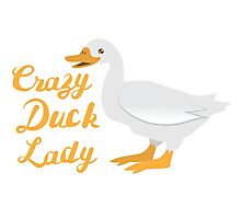 Crazy Duck Lady (fancy) with white duck Photographic Print