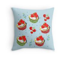 Cute Strawberry And Cream Cup Cakes Pattern Throw Pillow