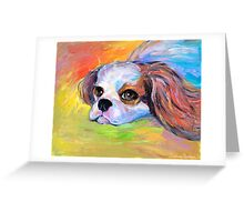 King Charles Cavalier spaniel dog portrait painting  Greeting Card