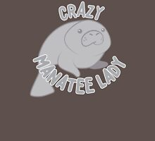 Crazy manatee lady (new circle version) Womens Fitted T-Shirt