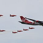 Virgin Atlantic 747 and Red Arrows by jabisfab