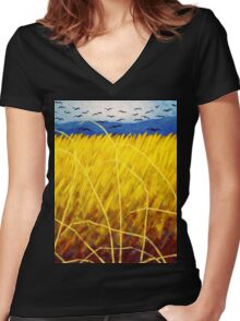 Homage To Vincent Van Gogh Women's Fitted V-Neck T-Shirt