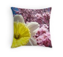 Daffodil Flowers art Pink Tree Blossoms Baslee Troutman Throw Pillow