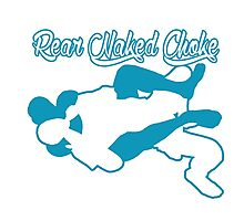 Rear Naked Choke Mixed Martial Arts Blue  Photographic Print