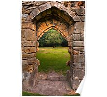 Old stone abbey archway Poster