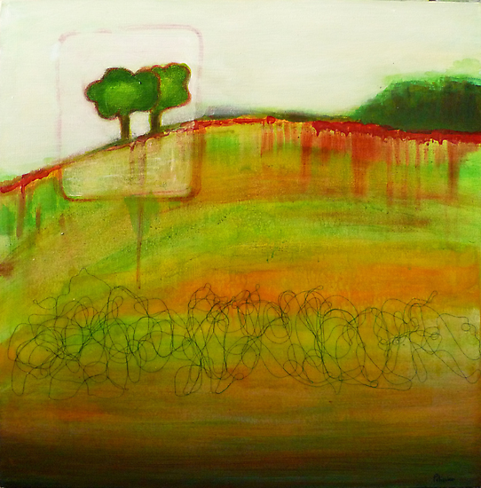 One Tree, mixed media on canvas by Sandrine Pelissier