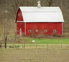 White Roof Barn with Vintage Farm Equipment by Diane Trummer Sullivan