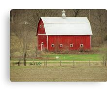 White Roof Barn with Vintage Farm Equipment Canvas Print