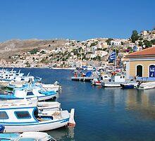 Boats at Yialos, Symi by David Fowler