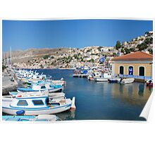 Boats at Yialos, Symi Poster