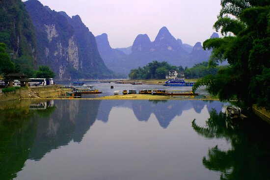 Fine art of Li River, China Landscape by fotinos
