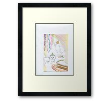 Kittens in party hats Framed Print