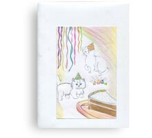 Kittens in party hats Canvas Print