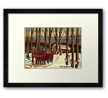 MAPLE SYRUP AT THE SUGAR SHACK Framed Print