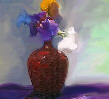 Bearded Iris in a Metal Vase by suzannem73