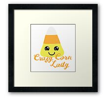 Crazy corn lady (Halloween funny) Framed Print