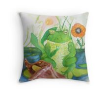 wee frog with calla lily sculpture Throw Pillow