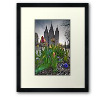 An Evening at Temple Square - 7 Framed Print