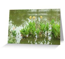 Tall yellow flowers dancing together Greeting Card