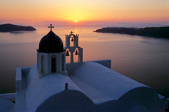 Golden Santorini by Norbert Probst