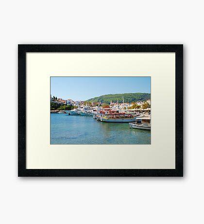 Skiathos Town harbour, Greece Framed Print