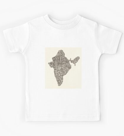 Lettering map of India Kids Tee