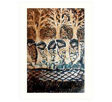 In My Blue Garden - Collagraph Print Art Print