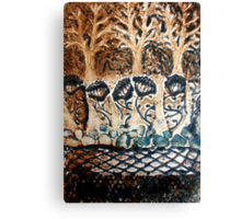 In My Blue Garden - Collagraph Print Canvas Print