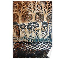 In My Blue Garden - Collagraph Print Poster