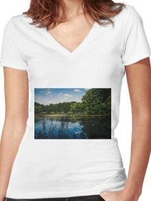 Blue Reflection Lake Women's Fitted V-Neck T-Shirt