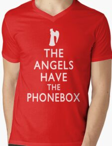 The Angels have the Phonebox - Keep Calm Spoof Mens V-Neck T-Shirt