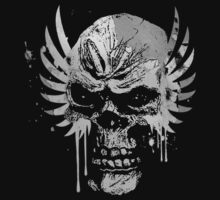 Cool Skull and Wings Grunge T-Shirt by Denis Marsili
