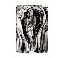 Nude Woman Bending - Ink on Glass Art Print