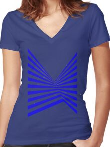 Blue Abstract Stripes Women's Fitted V-Neck T-Shirt
