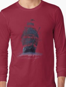 Ghost Pirate Ship at Night Long Sleeve T-Shirt