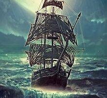 Ghost Pirate Ship at Night by Eva Nev