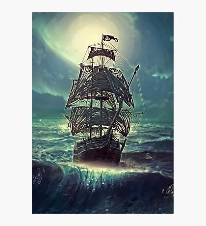 Ghost Pirate Ship at Night Photographic Print